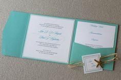 Starfish invitation, destination wedding invitation, tiffany invitation, beach invitation, custom colors, custom sample on Etsy, $7.50