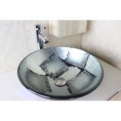 Rundes Aufsatz Glas Waschbecken Waschschale Waschtisch blau 42cm ... | {Waschbecken rund glas 66}
