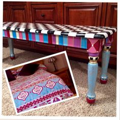 Painted Farmhouse Bench//Whimsical painted bench//Alice in wonderland Checks custom whimsical painted furniture by MicheleSpragueDesign on Etsy https://www.etsy.com/listing/89580730/painted-farmhouse-benchwhimsical-painted