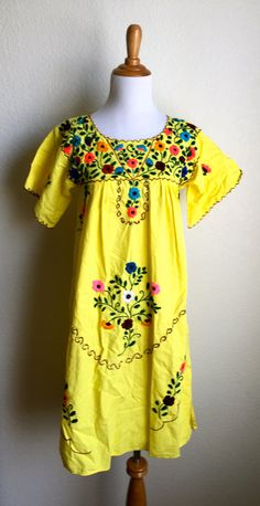 Bright Yellow Mexican Embroidered Peasant Dress by Infrequenties