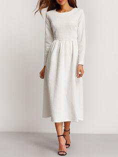 White Long Sleeve Embossed Flare Dress