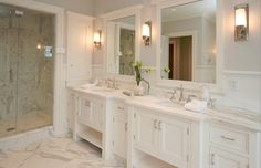 Kids bath Milton Development - bathrooms - Restoration Hardware Keller Sconce, white bathroom mirrors, white framed mirrors, white framed bathroom mirrors, modern sconces, sconces flanking bathroom mirror, master bathroom, sophisticated master bathroom,