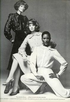 Beverly in Vogue magazine with models Pam Suthern and Charly Stember, December, 1974.
