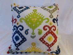 FREE Shipping Designer Throw Pillow Red, Blue, Green, Yellow,Silver Modern Boho