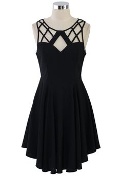 Geo Cut Out Skater Dress - Retro, Indie and Unique Fashion