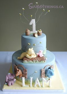 1st Birthday: Classic Winnie the Pooh Cake by Sweet Things. Love! Name and all