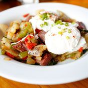 Corned Beef Hash with Poached Eggs, Recipe from Cooking.com