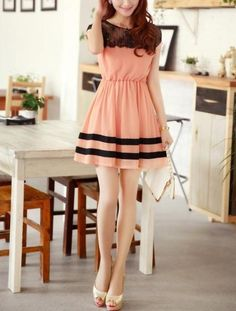 Ringnor - Lace yoke peach colour chiffon dress