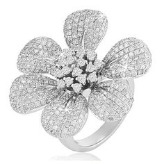 $649.99 - 2.65 Carat Diamond Flower Ring in Sterling Silver
