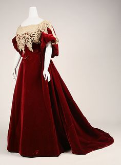 Worth Evening dress, 1893-95, French, Silk Velvet with two bodices (one for day and one for evening), Met Museum (28 pictures of the dress at the link).