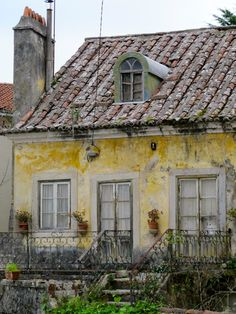 yellow French cottage