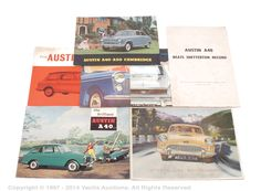 LOT::2008 Austin - A Mixed Group Of 1950S Leaflets And Brochures Austin - a mixed group of 1950s leaflets and brochures. Consisting of Austin A40-A50 Cambridge brochure, Austin A40-A50 leaflet, Austin - Looks Years Ahead With The New A55 Cambridge brochure, Brand Sparkling New - The Big Austin A40, The Brilliant Austin A40, The Austin A40 Countryman and Austin A40 Beats Snetterton Lap Speed Record - September 1959. Conditions are generally Good Plus to Excellent. (7) Estimate: £50 - £60