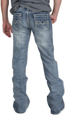 Rock & Roll Cowboy® Medium Vintage Wash Denim V Abstract Embroidered Pocket Pistol Boot Cut Jean