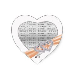 Custom Hearts Tangerine Ribbon Photo Stickers #wedding