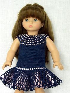 "18 inch Doll Clothes Handmade crochet outfit made to fit 18"" American Girl size dolls Gotz doll Ashley is modeling a crochet dress  made using a free crochet doll pattern from the abc-knitting-patterns website (made by Barb Marlee)"