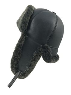 Zavelio Men's Shearling Sheepskin 6 Panel Ushanka Hat X-Large Black * To view further for this item, visit the image link.