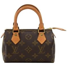Preowned Louis Vuitton Mini Speedy Sac Hl Monogram Canvas Hand Bag ($460) ❤ liked on Polyvore featuring bags, handbags, multiple, top handle bags, canvas man bag, polka dot purse, canvas purse and mini handbags