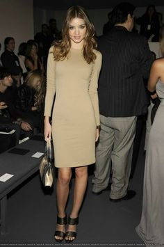 Miranda Kerr wearing Calvin Klein Fall 2009 Rtw Platform Sandals and Calvin Klein Collection Long Sleeve Nude Dress.