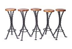 """French Iron Chain Stools, Set of 5 on OneKingsLane.com    Set of five 1960s high stools with circular wood seats and three-legged black iron chain bases with footrests.    35""""H x 13""""Dia     $2249"""