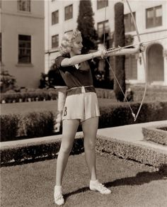 Betty Grable - ok I'll do archery with you babe...