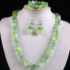AAA Quality Green Crystal/Crackle Glass Jewelry Set. Starting at $1 on Tophatter.com!