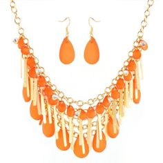 Orang And Gold Fringes And Tear Drop Bib Necklace And Earring Set