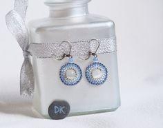 Boucle d'oreilles perles, Boucles d'oreilles bleu, Boucles d'oreilles circulaires, Brick stitch boucles d'oreilles, brique stitch, toho,