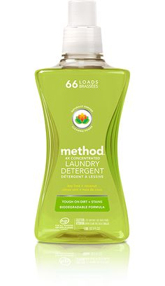 naturally derived cleaning power in this NEW laundry detergent fights tough dirt + stains. so your whites stay white and your colors stay bright. SHOP NOW> Detergent Bottles, Laundry Detergent, Laundry Supplies, Cleaning Supplies, Method Cleaning Products, Method Soap, Cleaning Cupboard, Method Homes, Granny Flat
