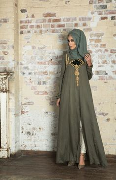 Olive green abaya white pants