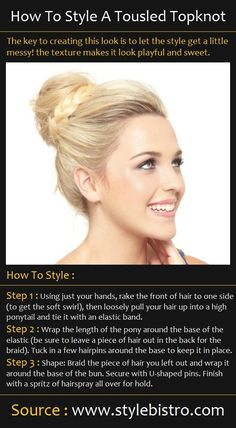 A Tousled Topknot Hair Tutorial #hair #tutorials #topknot #pretty #cute #blonde