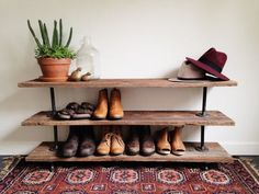 Reclaimed Barn Wood Industrial Pipe Console Table - Shoe Rack - TV Stand…