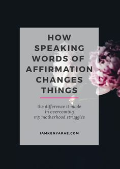 "What Happens When You Speak Words of Affirmation Affirmations are our mental vitamins, providing the supplementary positive thoughts we need to balance the barrage of negative events and thoughts we experience daily. Tia Walker I started my day by saying ""I can do this"". My ""this"" …"