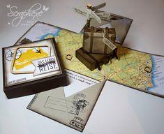 Explosion Box Australien, Geschenk, Reise, scraphexe.de Travel Scrapbook, Scrapbook Cards, Scrapbooking, 3d Paper Projects, Paper Crafts, E Craft, How To Make Box, Birthday Box, Exploding Boxes