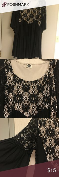 Black dress Black, lace front and back, gauze material, 3 quarter sleeve size small J&M clothing Dresses