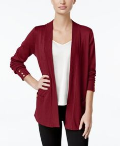 Charter Club Open-Front Button-Cuff Cardigan, Only at Macy's