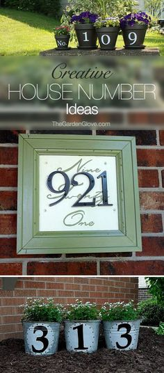Best Diy Crafts Ideas For Your Home : Creative DIY House Numbers Great ideas & tutorials! Outdoor Projects, Home Projects, Outdoor Decor, Outdoor Ideas, Craft Projects, Pot Jardin, Scrap Material, Ideias Diy, Diy Home Decor