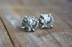 Ancient Greek Coin Studs: Authentic ancient coin jewelry. Greek coin jewelry in 14k yellow gold by TorchFire Studio