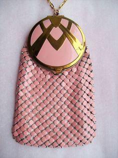 WOW Antique Pink Mesh Compact Purse Combo Enamel Art Deco Vanity Handbag