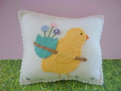 Felt Pillow Easter Chick With Egg