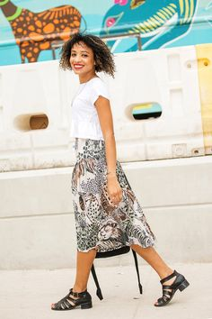 Yet another brilliant white-tee outfit on Nadeska Alexis, because great statement pieces don't need much else.