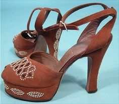 c. 1940's Creations by HenriTaupe Suede Beaded, Ankle Strap, Platform, Peep Toe, Cutwork, High Heel Shoes! From the Estate of Anita Loos