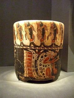 Pot with jaguar and fishes Central Maya area Late Classic Maya 600-900 CE Earthenware