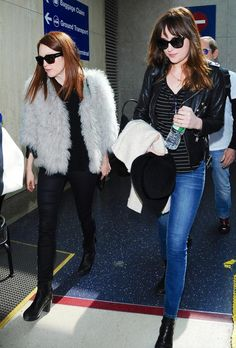 Fresh from NYFW, Julianne Moore and Dakota Johnson Hit the Airport Together in Style  #InStyle