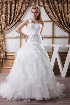 One Shoulder A-Line Beaded Brush Train Wedding Dresses #WeddingDresses #WeddingDress