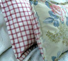 "LAKEHOUSE - Ralph Lauren Fabric - Pair Custom Made Shams 18"" x 18""  - Lakehouse Plaid fabric Back -"