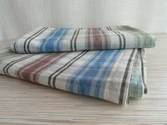 Two Stripped Cotton Curtains Vintage Hemtex by VintagePearlHunt