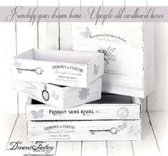 frenchify your dream home upcycle old cardboard boxes, cleaning tips, painting, repurposing upcycling, storage ideas French Typography, Vintage Typography, Old Boxes, Cigar Boxes, French Country Decorating, Upcycle, Recycling, Diy Projects, Cardboard Boxes