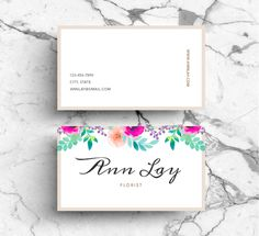 Watercolour Flower Business Card PSD by Emily's ART Boutique  on Creative Market