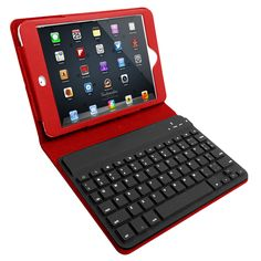 iPad mini bluetooth keypad. Turn your iPad into a laptop for tasks that are just annoying on the touch-screen keyboard. Neat!