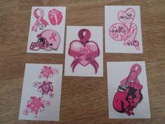 BREAST CANCER AWARENESS PINK RIBBON TEMPORARY TATTOOS * 5 PCS *